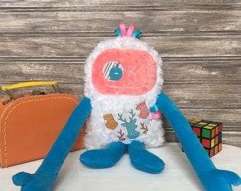 Hug Monster, handmade plush toy,turquoise and coral with roe/moose pocket,happy friendly monster for girl,unique  birthday gift, ready to go