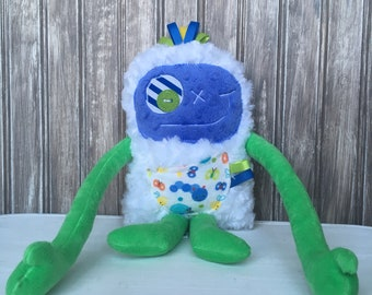 Hug Monster plush with ribbons, green and bleu with insects print pocket, soft toy, cute baby shower gift or birthday gift, child room decor