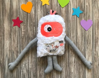 Cuddle Monster plush toy, coral and gray with fox and raccoon on the pocket, cute monster, big sister gift, newborn, nightmare help, hugger