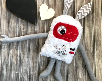 Hug Monster plush with rabbit ears, Made in Québec, grey and red, pocket with animals, baby shower,  birthday or easter gift, nursery, bunny