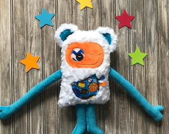 Cuddle Monster plush with bear ears blue and orange with kisses or cuddle pocket with sport gear. soft toy for baby or kids, hug monster