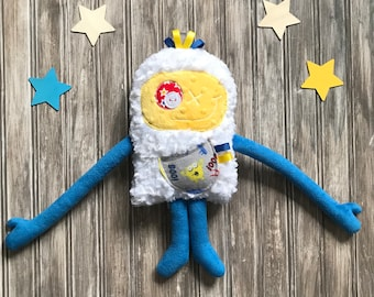 Cuddle monster plush (Monstre à Câlins) with ribbons on the head and a secret pocket with a funny monster, soft toy plush for boys and baby