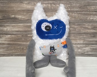 Hug Monster, plush toy, grey and dark blue with skate board and monsters, friendly monster for kids, big brother gift newborn, ready to go