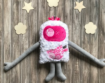 Cuddle Monster, plush toy, grey and fuchsia with flowers on the pocket, friendly monster for kids, big sister gift, newborn, secret pocket
