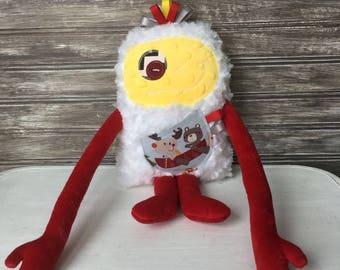 Peluche Monstre à Câlins pour garçon jaune et rouge avec animaux en canot, cadeau unique pour fête/baptême/Noël/shower de bébé,Prêt à partir