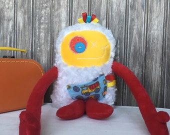 Handmade plush toy, Hug Monster, red and yellow with a dump truck pocket, friendly monster for boy, birthday gift, room decor, truck lover