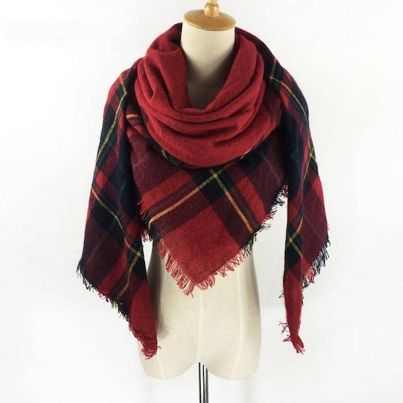 eef07d414a28 Foulard à carreaux rouge couverture écharpe couverture écharpe   Etsy