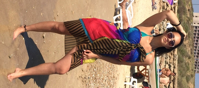 f601f90c3348f Sale Hand Dyed Silk Sarong Pareo colors beach cover up   Etsy