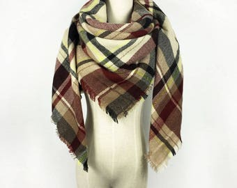 Mothers Day Gift Plaid Scarf Blanket Scarf Blanket Scarf Plaid Burgundy Scarf Tartan Scarf Brown Blanket Scarf Oversized Scarf Winter Scarf