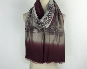 Burgundy Scarf Red Scarf Oversized Scarf Burgundy Striped Scarf Shawl Burgundy Cream Scarf Spring Scarf Red Fashion Accessories Gift For Her