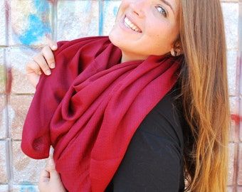 Burgundy Scarf Red Scarf Red Pashmina Oversized Scarf Red Shawl Pashmina Scarf Shawl Burgundy Shawl Women Fashion Accessories Gift For Her