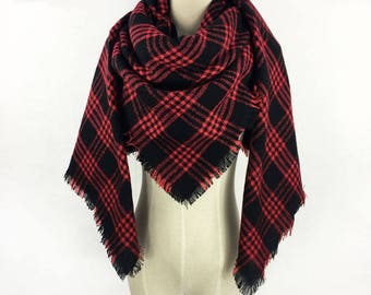 Plaid Scarf Blanket Scarf Blanket Scarf Plaid Black Blanket Scarf Tartan Scarf Red Plaid Scarf Oversized Scarf Winter Scarf Chunky Scarf Red