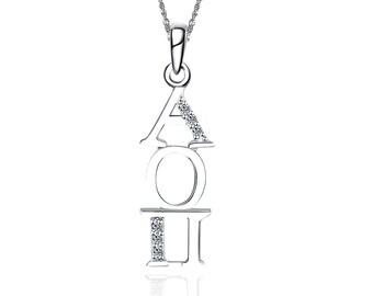 AOP-P013 Alpha Omicron Pi Eternity Silver Charm Lavalier