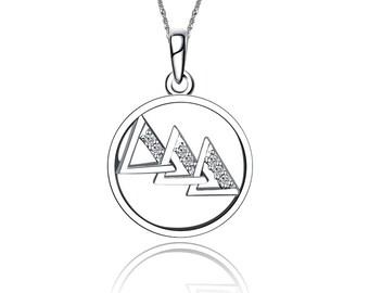 """Delta Delta Delta /""""Tri-Delt/"""" Sterling Silver Diagonal Curlz Charm and Chain"""