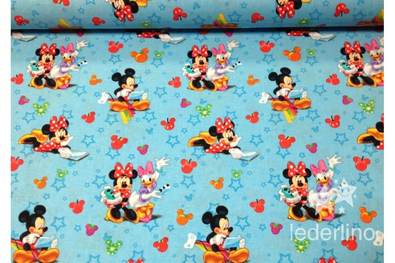 Fabric Cotton Minnie Mouse And Daisy Duck Etsy