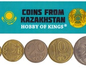 5 Kazakhstan Coins. Different Collectible Central Asian Coins. Foreign Currency