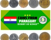 5 Different Coins from Paraguay. South American Money. Old Collectible Guarani Currency 5 Centimos to 100 Guaranies