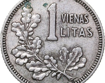 FIRST REPUBLIC OF LITHUANIA SILVER COIN 1 LITAS 1925