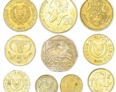 Lot of 10 Mixed CYPRUS COINS 1 - 50 CENTS Cypriot coins set 1963-2007