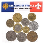Lot of: 10, 100 coins, 1 Lb, 2 lbs, 4 Pounds France Coins Francs Centimes Pre-Euro French Coins