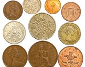 Lot of 10 UK England Great Britain Coins Penny Shilling Pence 1937-Present United Kingdom Collectible Old Currency