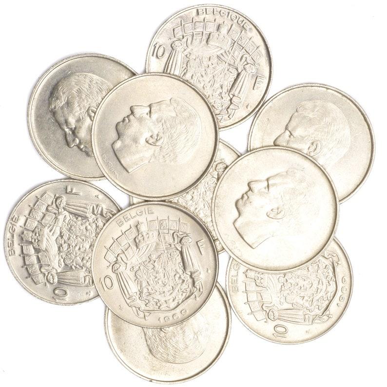 25 Centimes 50 Francs Belgium Pre-Euro Coins Lot 10 Belgian Coins