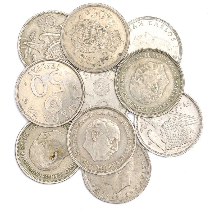 Lot 10 Spain Coins 10 Centimos 50 Pesetas Espana Spanish Pre Euro Bulk Coins