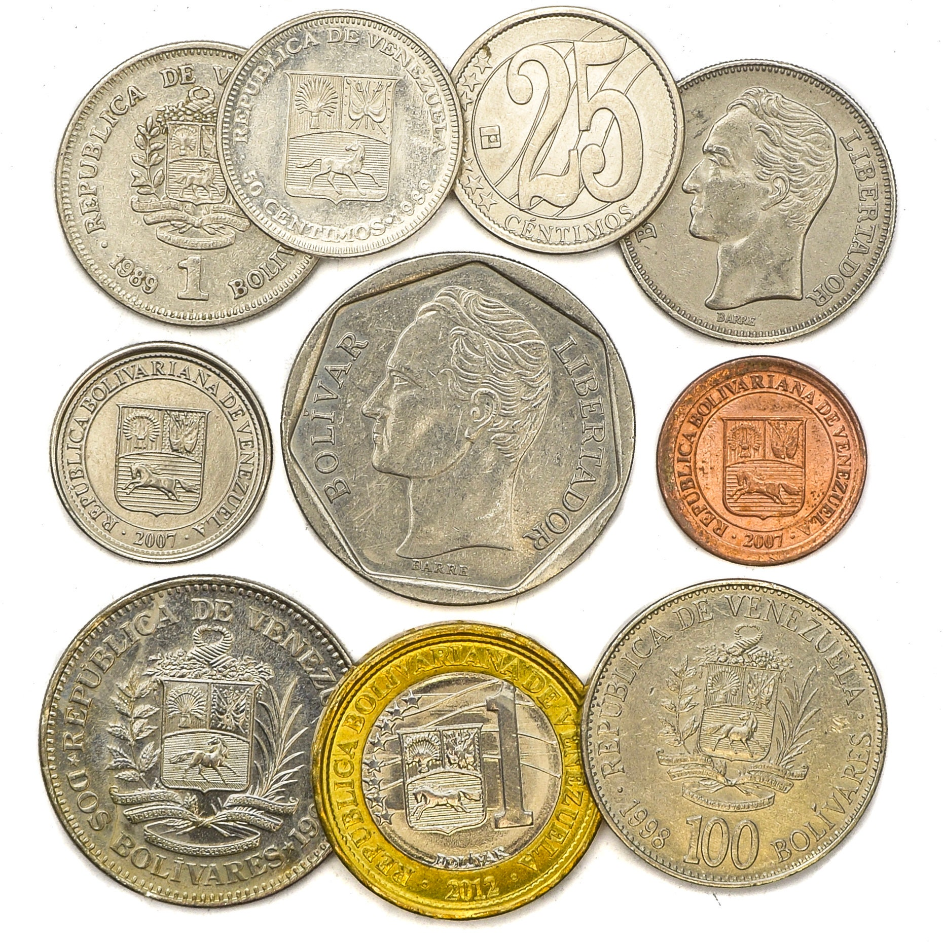 Coins from the Bolivarian Republic of Venezuela  South American old  collectible coins