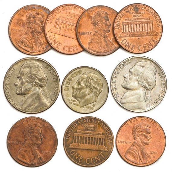 COINS 100 COINS FROM UNITED STATES OF AMERICA LINCOLN PENNIES CENTS USA