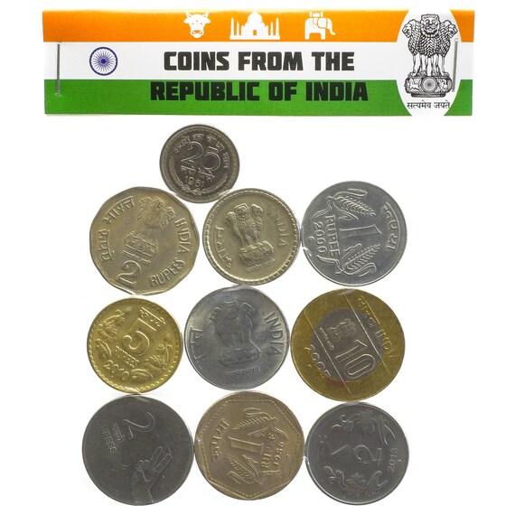 Lot Von 10 Indische Münzen Indien Paise Rupie Gemischte Etsy