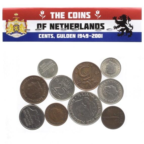CENTS NETHERLANDS SET OF 6 DUTCH COINS: QUEEN JULIANA GULDEN 1949-1980