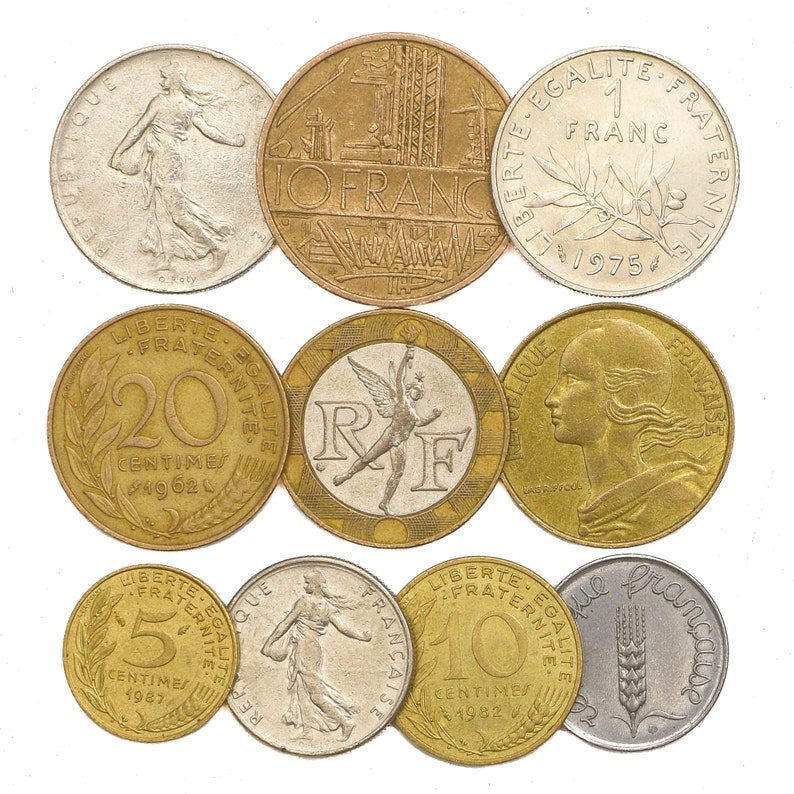Lot of: 10 100 coins 1 Lb 2 lbs 4 Pounds France Coins image 0