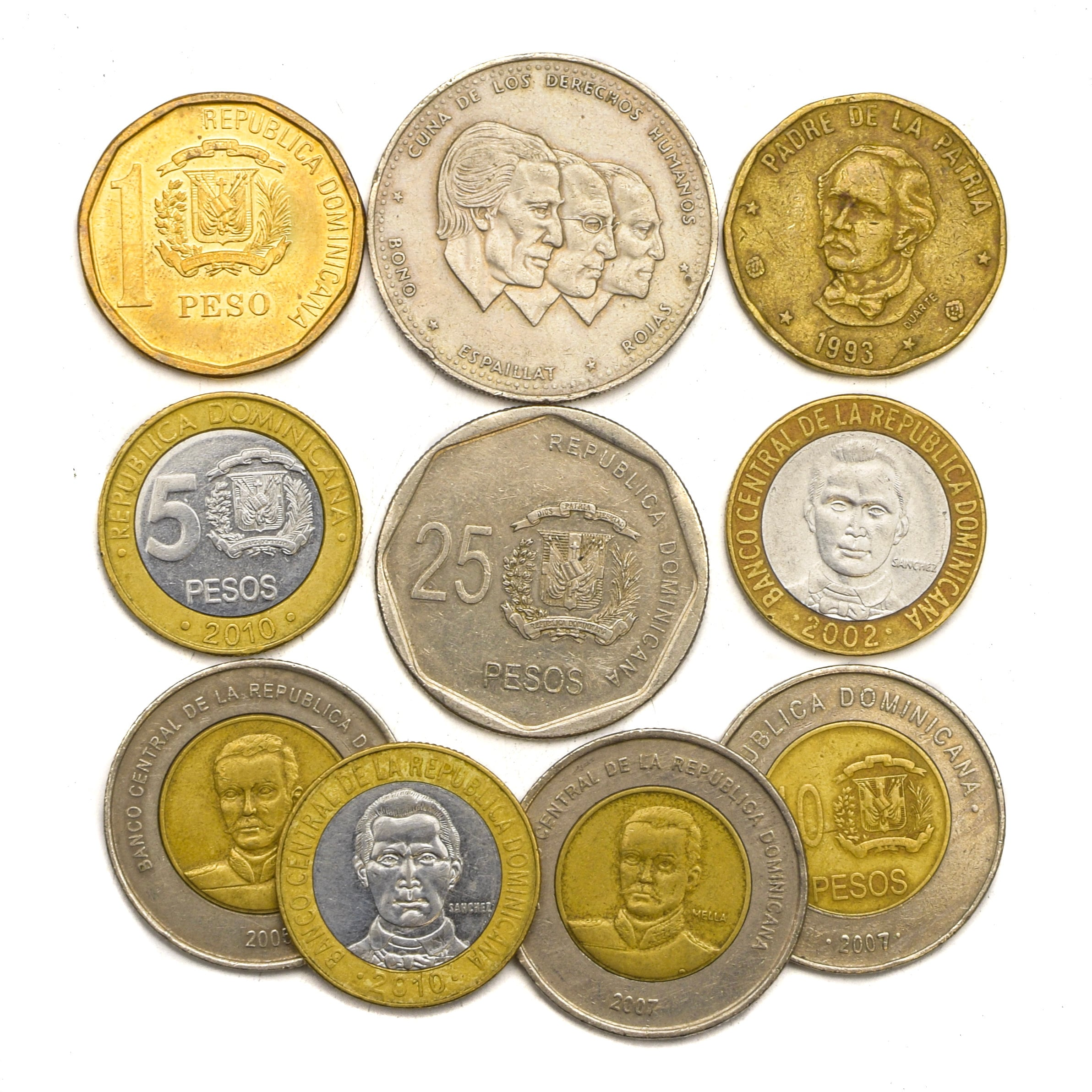Lot of 10 Dominican Republic Coins from Caribbean island of Hispaniola:  Peso, Pesos  Mixed old collectible coins