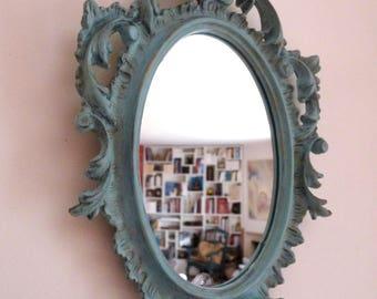 Miroir ancien baroque, patine céladon