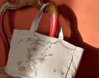 Sac en lin peint à la main, motif de cerisier en fleurs