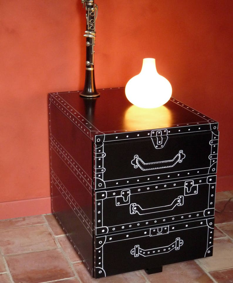 Vintage metal box with drawers suitcases stylized way BD  image 0