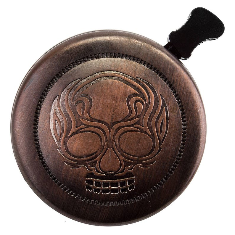 Custom Hand Painted Details Bronze Color Heat Pressed Stamped Carved Skull Bicycle Bell