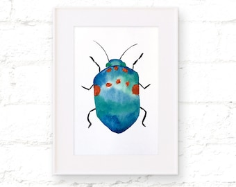 ORIGINAL - Watercolor - Blue - Beetle - Insect - Bug - Painting - Wall Art