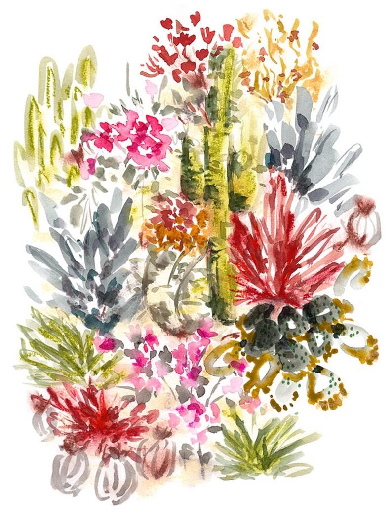 Art Print Wild Desert Cacti Garden Wall Art Watercolor Cactus