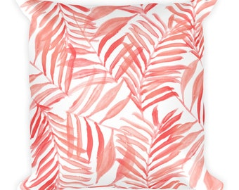 Tropic Leaves Pillow 18x18 in Coral