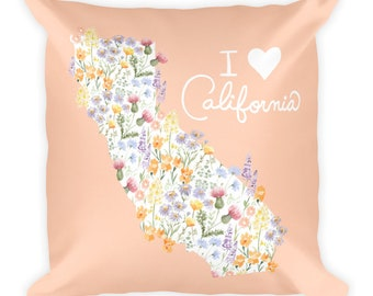 I Heart California Wildflower Pillow 18x18