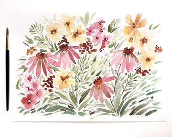 ORIGINAL - Wildflowers - Cone Flowers - Painting - Wall Art