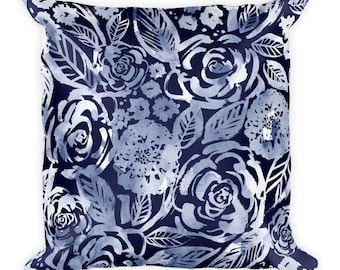 Sketched Rose Pillow in Indigo 18x18