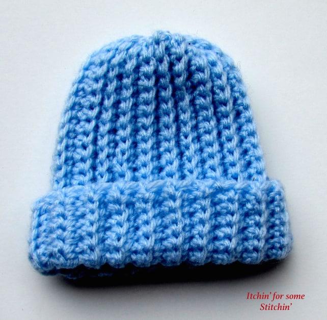 Pattern Basic Crochet Ribbed Baby Beanie Etsy