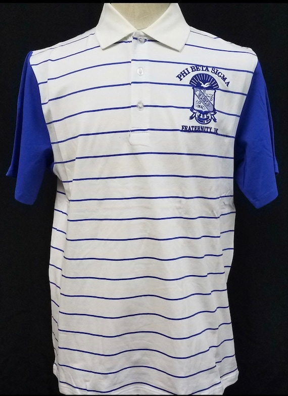 PHI BETA SIGMA Fraternity Short Sleeve Polo Shirt Blue White stripe Polo top