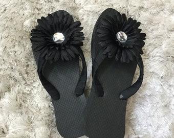 Flower flip flops   Etsy