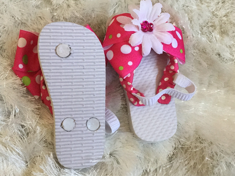 Hot Pink White Flower Flip Flops