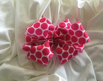 Hot Pink and White Polka Dot Double Stacked Hair Bow