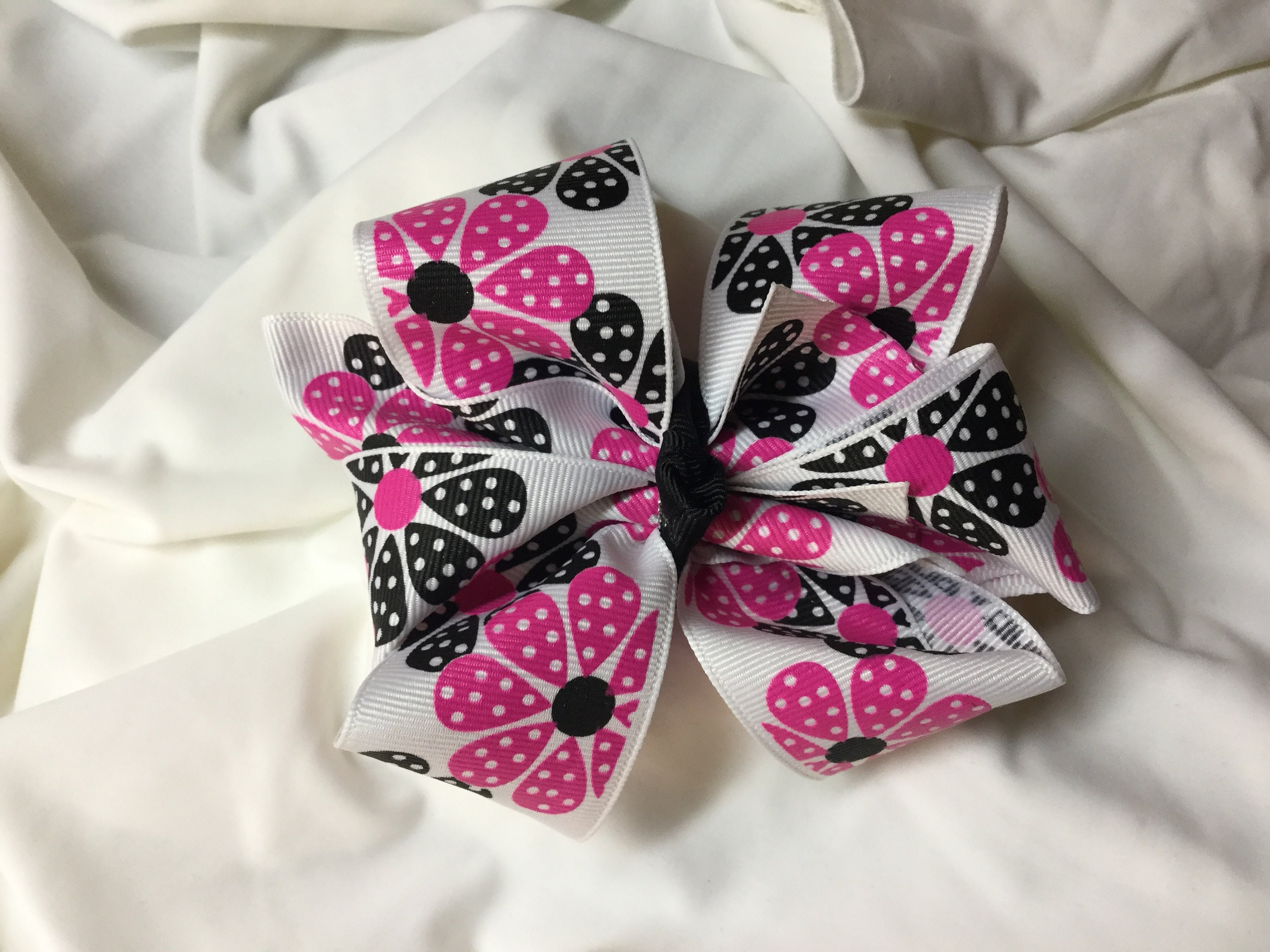 Hot pink and black flower double stacked hair bow mightylinksfo