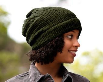 Satin Lined Knit Beanie Khaki Wool Mix